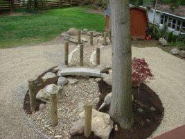 gravel garden stone bridge backyard garden