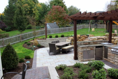 backyard outdoor kitchen living space
