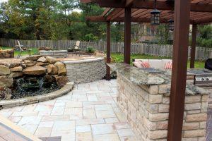 outdoor bar garden waterfall retaining wall