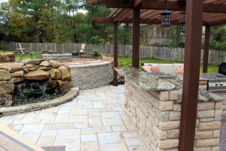 outdoor bar garden waterfall retaining wall