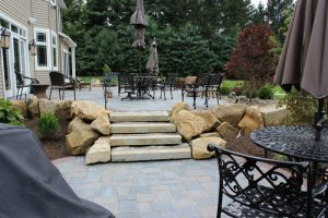 stone staircase brick patio