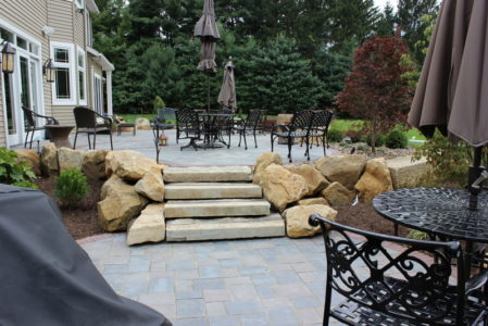 stone staircase brick patio