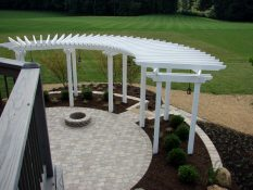 shade structures fire pit stone patio